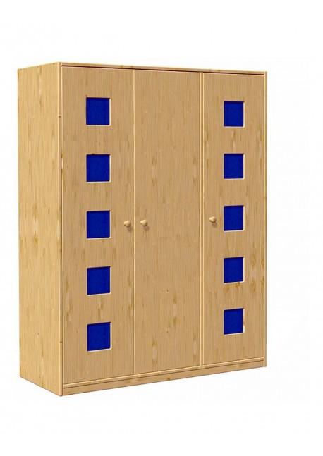 kinder kleiderschrank holz 171x135cm 3 t ren karo ohne. Black Bedroom Furniture Sets. Home Design Ideas