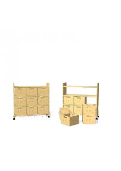 """Regal """"Utensilo 2"""" auf Rollen, Höhe 85cm, mit massiven Holzkästen"""