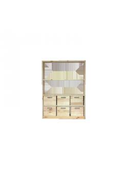 Regal mit 6 Boxen aus Massivholz 123 x 89 cm,  direkt vom deutschen Hersteller
