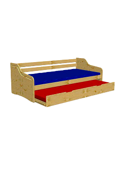 """Jugendbett, Funktionsbett """"Tandem""""  ausziehbare 2. Liegefläche, Massivholz, 2 Rollroste, direkt vom deutschen Hersteller"""