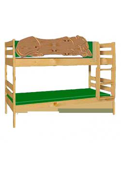 """Kinder Etagenbett """"Leo"""", Holz massiv, geölt, teilbar, mit Rost"""