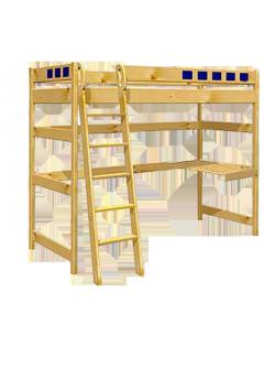 """Hochbett """"Karo"""",  Holz massiv, Rollrost, Sicherheitsleiter, direkt vom deutschen Hersteller"""