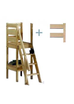 Treppen-Turm für Hochbetten, Sicherheitstreppe zu Etagenbetten mit 3 Stufen, Holz massiv FSC®