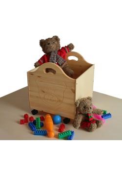 """Spielzeugkiste """"Bär"""" aus Massivholz, mit Rollen,  direkt vom deutschen Hersteller"""