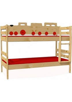 "Kinder Etagenbett ""train"" Holz massiv, Rollroste, teilbar"