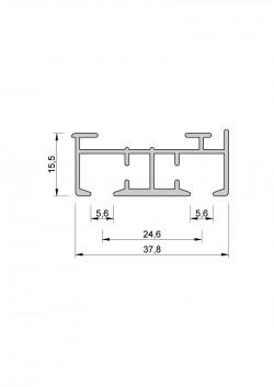 Schiebevorhang-Schiene Komplett-Set nach Maß, 2 Lauf