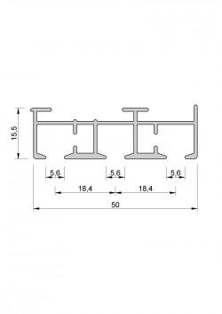 Schiebevorhang-Schiene Komplett-Set nach Maß, 3 Lauf