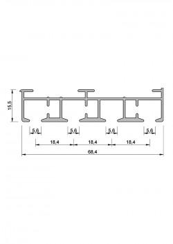 Schiebevorhang-Schiene Komplett-Set nach Maß, 4 Lauf