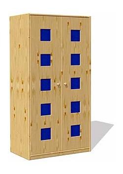 """Kleiderschrank """"Karo"""" mit 2 Drehtüren, Kiefer massiv, Höhe 171 cm"""