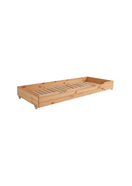 Bettkasten mit Rost als Zusatzbett 85 x 196 x 17 cm Massiv Holz mit Rollen