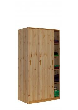 Kleiderschrank mit Schiebetüren, Kiefer Massivholz, Höhe 171 cm, Breite 89 cm, direkt vom deutschen Hersteller