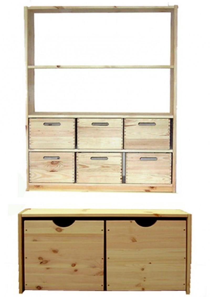 regalsystem aus holz universalregal aufbewahrungsm bel mit aufbewahrungsboxen silenta. Black Bedroom Furniture Sets. Home Design Ideas