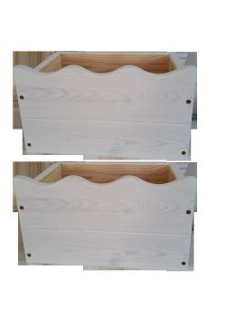 2 Boxen mit Welle, 39 x 29,5 cm, geölt natur, direkt vom deutschen Hersteller