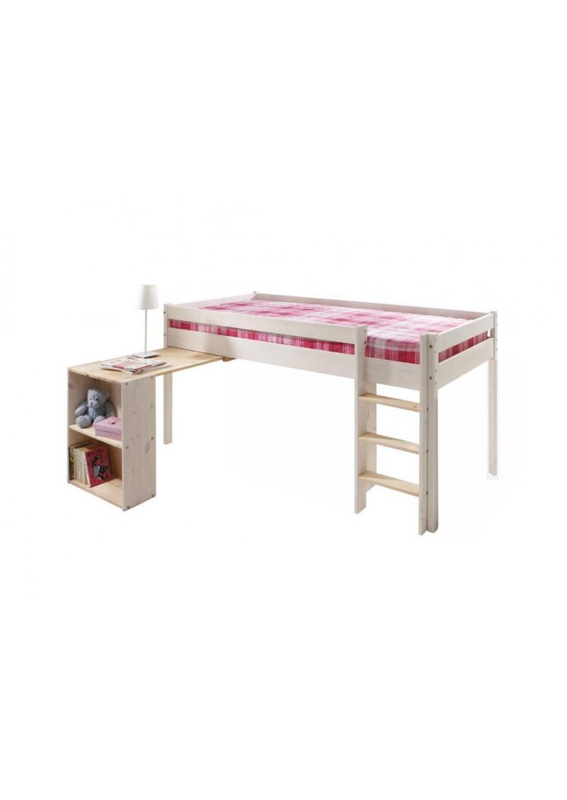 hochbett ebrach mit schreibtisch rollrost halbhochbett bio qualit t direkt vom hersteller. Black Bedroom Furniture Sets. Home Design Ideas