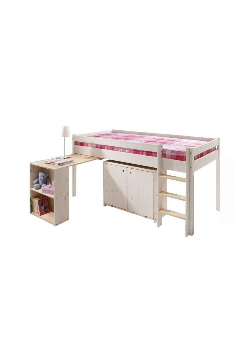 hochbett ebrach mit schreibtisch rollrost halbhochbett. Black Bedroom Furniture Sets. Home Design Ideas