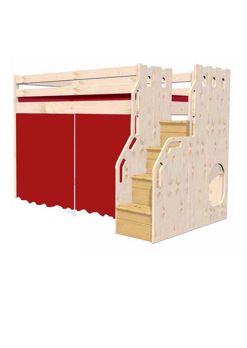 kinder hochbett traum burg kinderbett mit sicherheits treppe t v fsc online vom. Black Bedroom Furniture Sets. Home Design Ideas