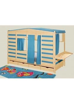 """Kinderbett, Hausbett """"Coburg"""" mit Schreibtischplatte,  Bio Kindermöbel, direkt vom deutschen Hersteller"""