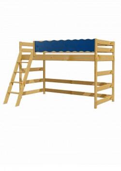 """Kinder Hochbett """"Welle"""" mit Treppe und Rollrost, Holz massiv"""