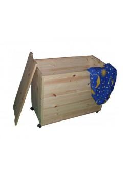 """Holztruhe """"Ebrach"""" Allzwecktruhe auf Rollen, mit Deckel, Holz massiv"""
