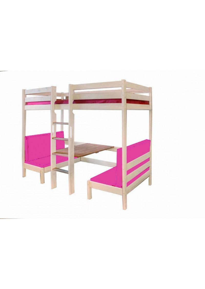 hochbett kronach aus holz mit bank und tisch massivholzkinderm bel online direkt vom. Black Bedroom Furniture Sets. Home Design Ideas