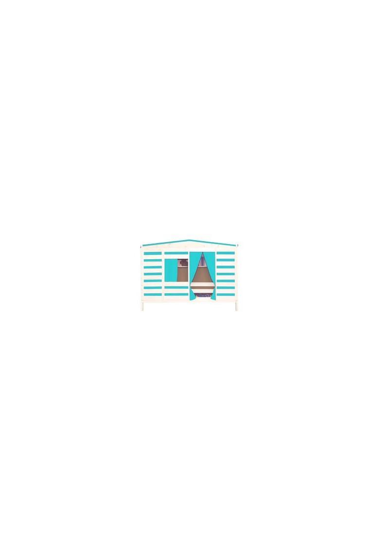 Kinderbett coburg in hausoptik mit rollrost stoffdach for Fenster coburg