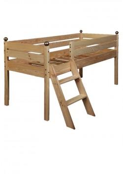 """Kinder Hochbett """"Comtesse"""" 70 x 160 cm Halbhochbett  98 cm, Holz massiv"""