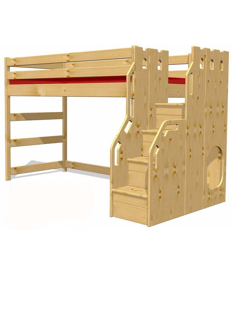hochbett traum burg kinderm bel aus holz aus. Black Bedroom Furniture Sets. Home Design Ideas