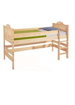 """Kinder Hochbett, """"Bayreuth"""", Halbhochbett, umbaubar zu 2 Einzelbetten, Rost, Holz massiv"""