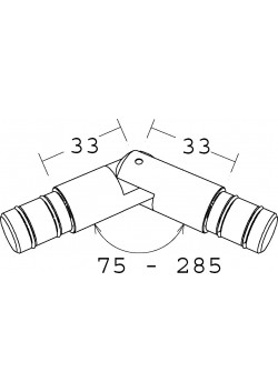 Erkergelenk für  Gardinenstangen/ Metallrohr  mit Ø 16 mm