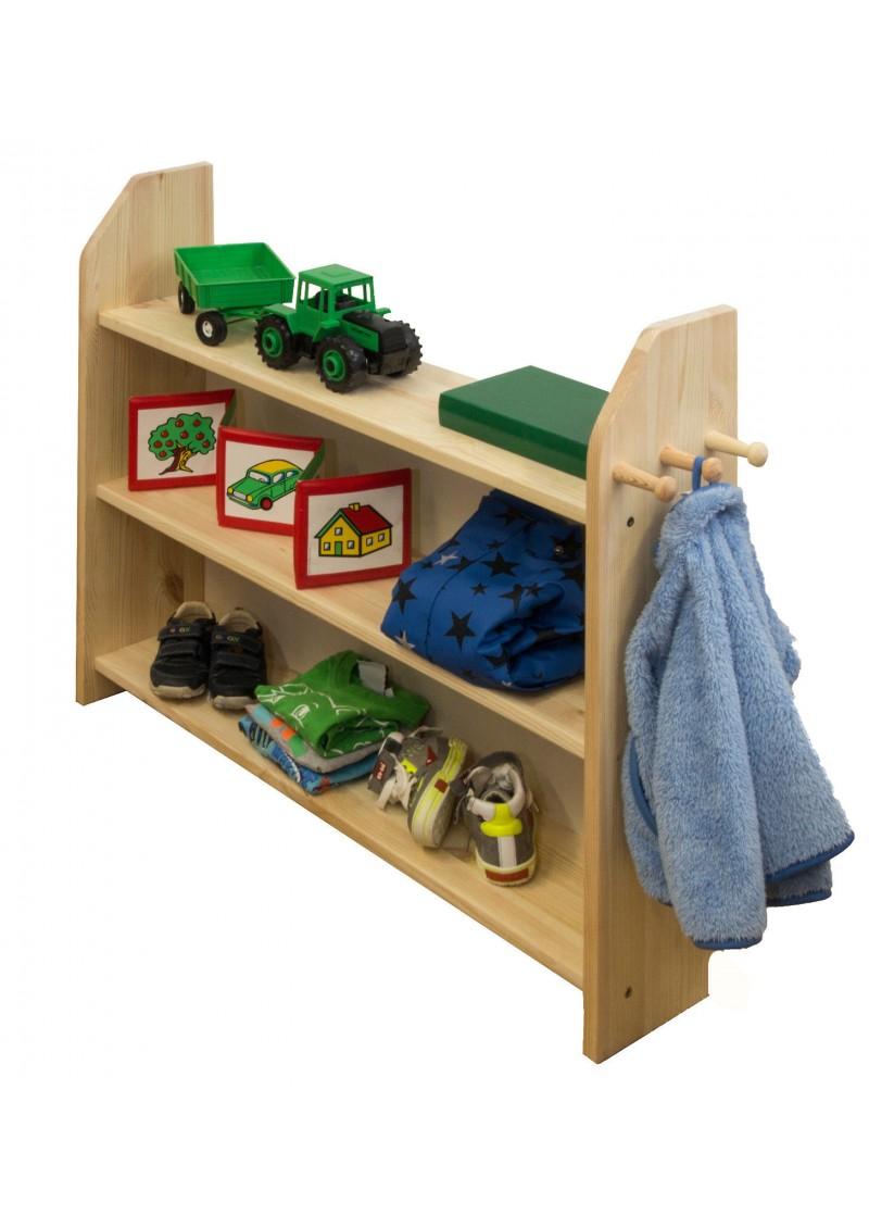 regal f r kinderzimmer bad oder diele mit 3 holzkn pfen silenta produktions gmbh. Black Bedroom Furniture Sets. Home Design Ideas
