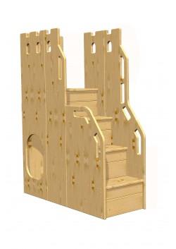 Treppe zu Hochbett + Etagenbett, Sicherheits-Treppe, Holz massiv, für 150 cm Höhe