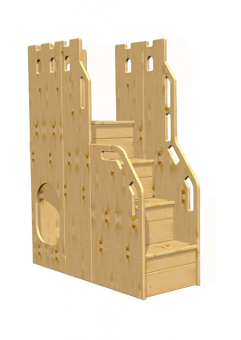 hochbett treppe mit sicheren stufen rausfallschutz palazzo holz massiv silenta produktions. Black Bedroom Furniture Sets. Home Design Ideas
