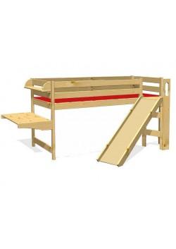Hochbett mit Rutsche, Schreibtisch, Bücherbord, Holz massiv, ohne Schadstoffe, vom Hersteller