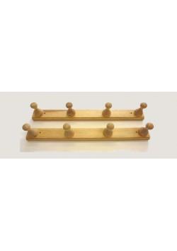 2 Stück  Massivholz Garderobenleiste mit 4 Knöpfe