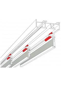 Schiebevorhangschienen Komplett-Set 3lauf, Aluminium 170cm, mit 3 Paneelwagen