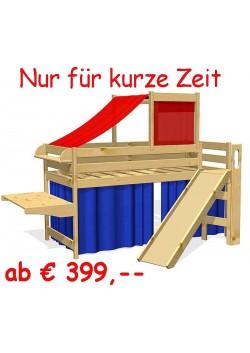 Hochbett mit Rutsche, Holz massiv, Rollrost,  Bio Qualität ohne Schadstoffe, direkt vom deutschen Hersteller