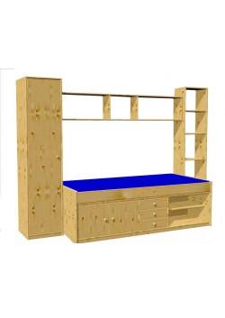 """Jugend zimmer """"Arkona"""" Schubladenbett Holz massiv mit Schrankk und  Regalen, direkt vom deutschen Hersteller"""