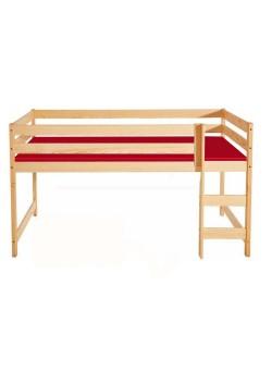 """Kinder Hochbett """"Bamberg"""" 90x200 cm, Holz  massiv schadstofffrei, Rollrost,  Bio Qualität direkt vom Hersteller"""