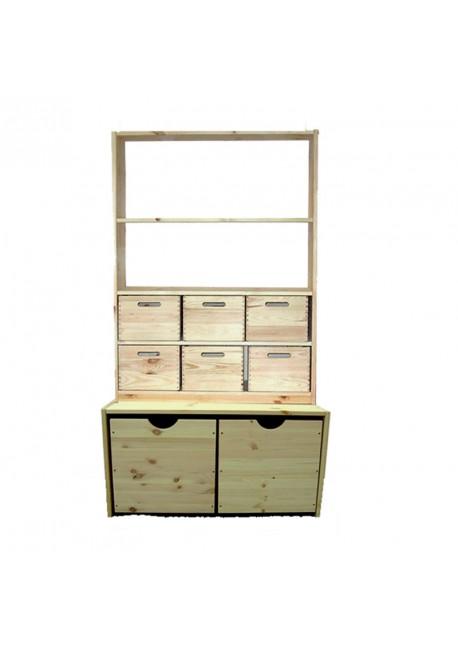Standregal mit Boxen + Containern