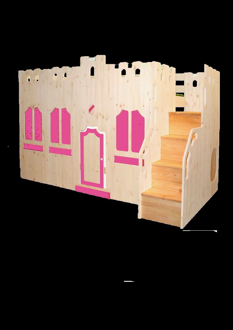 kinder hochbett traumburg holz massiv ritterbett mit burgfassade und sicherheitstreppe. Black Bedroom Furniture Sets. Home Design Ideas