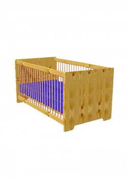 """Baby Bett """"Heike"""" 70x140 cm, Massivholz naturbelassen oder geölt, umbaubar zum Juniorbett, ohne Schadstoffe"""