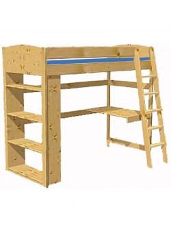 """Kinder Hochbett """"Studiosus"""" mit Rost, Schreibtisch und Regal, Holz massiv"""