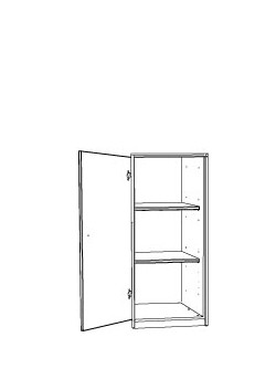 Kleiderschrank  aus Massivholz, 1 Drehtüre, Höhe 123cm