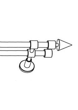 Gardinenstange Edelstahl, nach Maß, 2-Lauf  Ø 20 mm