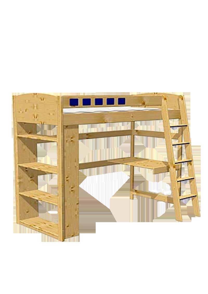hochbett studiosus mit schreibtisch und regal holz. Black Bedroom Furniture Sets. Home Design Ideas