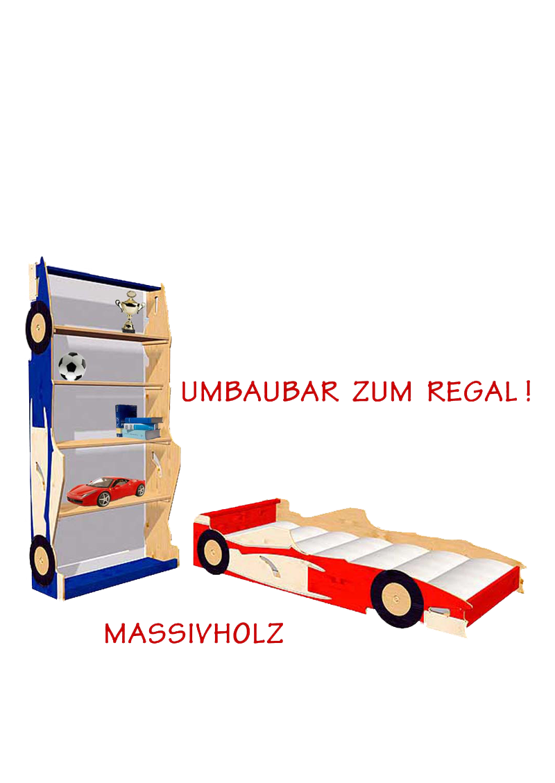 jugendbett kinderbett rennwagen super drive umzubauen zum regal silenta produktions gmbh. Black Bedroom Furniture Sets. Home Design Ideas