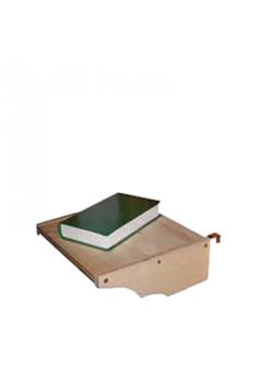 Ablageplatte zum Anhängen an ein Bett, Holz massiv, mit Metallhaken zur Befestigung