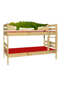 "Kinder Etagenbett ""Dino"", aus Holz massiv , teilbar, inkl. 2 Roste"