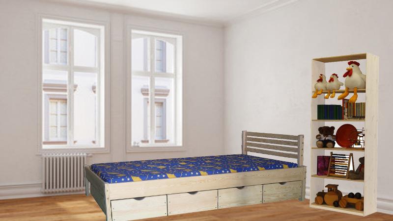 Bett und Regal